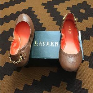 Ralph Lauren Tan Flats with Gold Chain Accent